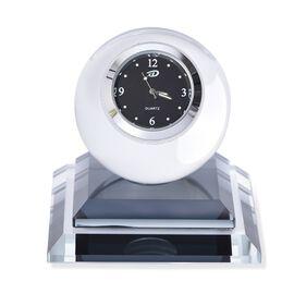 Black Colour Crystal Table Clock (Size 7.5x8 Cm)