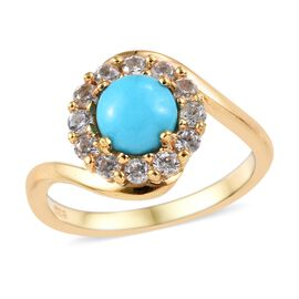 Arizona Sleeping Beauty Turquoise (Rnd), Natural Cambodian Zircon Ring in 14K Gold Overlay Sterling