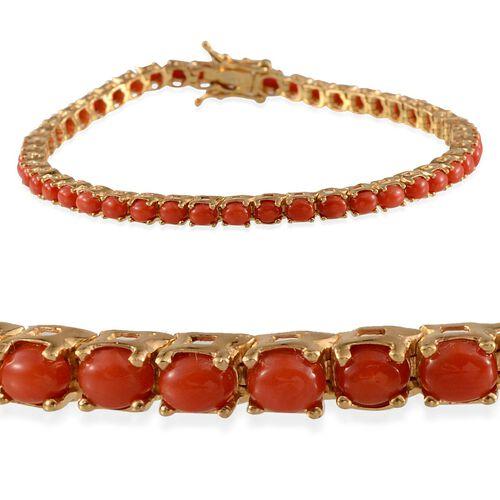 Natural Mediterranean Coral (Ovl) Bracelet (Size 8) in 14K Gold Overlay Sterling Silver 6.500 Ct.
