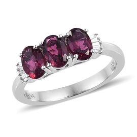 ILIANA 18K White Gold AAA Ouro Fino Rubelite (Ovl), (SI/G-H) Diamond Ring 1.250 Ct.