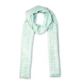 Brand New Scarves - Aqua Colour Sequin Work Scarf (Size 70x180 Cm) - Aqua