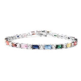 ELANZA Simulated Rainbow Sapphire and Simulated Diamond Bracelet (Size 7.5) in Rhodium Overlay Sterl