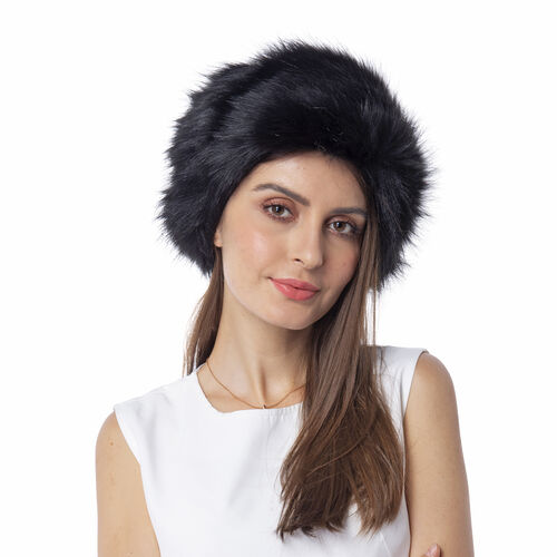 Black Colour Faux Fur Hat (Size 56 Cm)