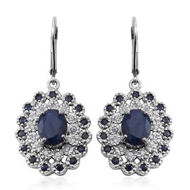 6.50 Ct Kanchanaburi Blue Sapphire and Zircon Halo Earrings in Rhodium Plated Silver 5.67 Grams
