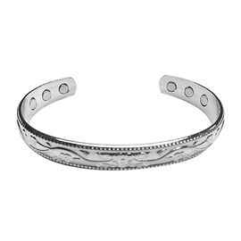 Floral Engraved Adjustable Magnetic Cuff Bangle in Silver Tone 7 Inch