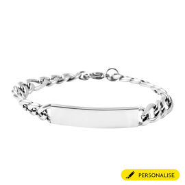 Personalised Men's ID Engravable Figaro Chain Bracelet - Size 8Inch
