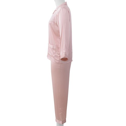 100% Mulberry Silk Pyjama Long Sleeves with Embroidery in Powder Pink Colour - Size L