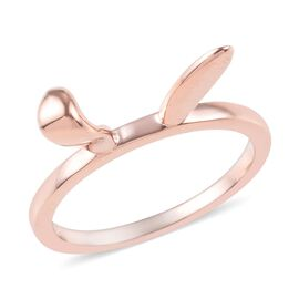 Rose Gold Overlay Sterling Silver Bunny Ears Ring