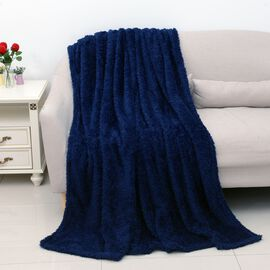 Super Soft Teddy Bear Plush Double Sided Sherpa Blanket (Size 150x200 Cm) - Navy Blue