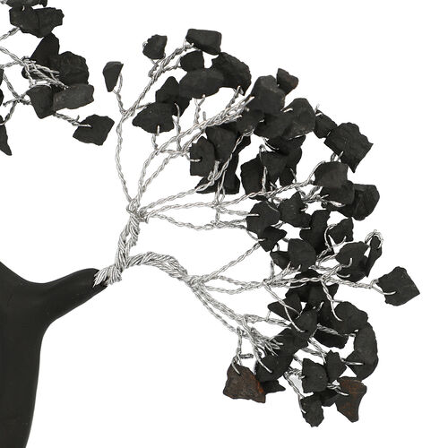 Decorative Handmade Shungite Gemstone Tree with Wooden Base (Size 23x5.5 Cm)