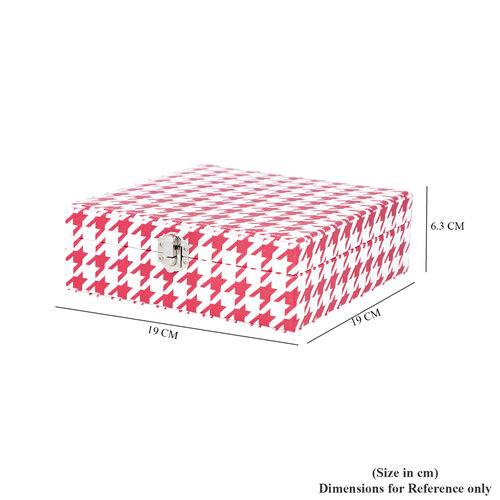 Red and White Houndstooth Pattern Jewellery Box with Mirror and Multiple Compartments (19x19x6.3cm)
