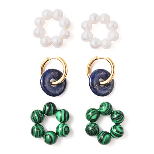 3 Piece Set - Malachite, Lapis Lazuli and White Freshwater Pearl Interchangeable Earrings in Stainle