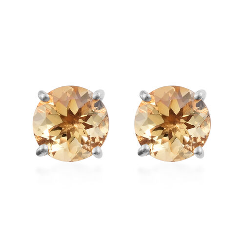 WEBEX- Brazilian Citrine (Rnd) Earrings (with Push Back) in Platinum Overlay Sterling Silver  3.500  Ct.