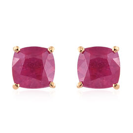 African Ruby (Cush) Stud Earrings (with Push Back) in 14K Gold Overlay Sterling Silver 3.00 Ct.