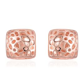 WEBEX- RACHEL GALLEY Rose Gold Overlay Sterling Silver Lattice Earrings (with Push Back), Silver wt