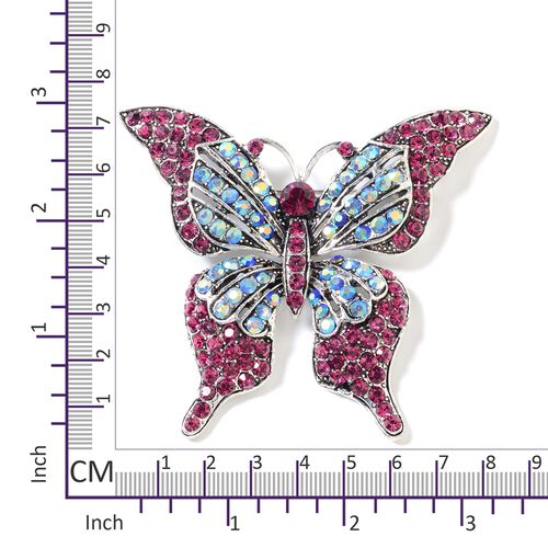 Fuchsia and Magic Colour Austrian Crystal (Rnd) Butterfly  Brooch in Silver Tone