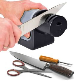 2 Piece Set - 3 in 1 Electric Sharpener for Knives, Scissors & Screwdrivers with Garlic Mincer (Size 8.6x8.8 cm) (2xAA Battery not Included) - Grey and Black