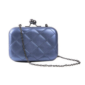 Hardcase Clutch Bag with Chain - Blue