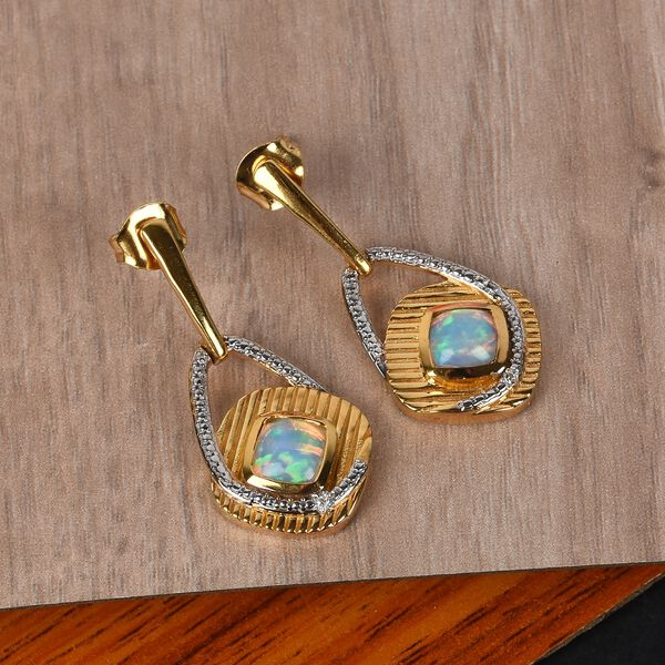 Ethiopian Welo Opal and Diamond Earrings (with Push Back) in 14K Gold and Rhodium Overlay Sterling Silver 1.26 Ct, Silver wt 5.00 Gms