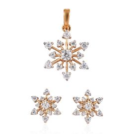 2 Piece Set - Natural Cambodian Zircon (Rnd) Snowflake Pendant and  Earrings (with Push Back) in 14K