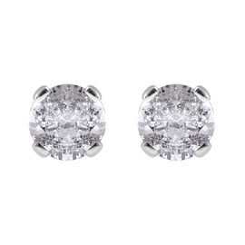 0.33 Ct Diamond Solitaire Stud Earrings in 9K White Gold SGL Certified I3 GH
