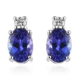 ILIANA 18K White Gold AAAA Tanzanite and Diamond Earrings (with Screw Back) 2.30 Ct.