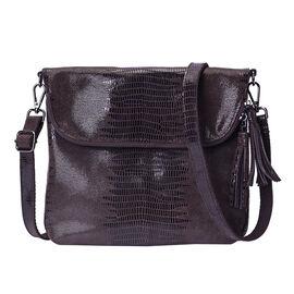 100% Genuine Leather Lizard Skin Pattern Crossbody Bag with Adjustable Strap (Size 24x3x24 Cm) -  Co