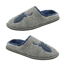 Dunlop Faux Fur Lining Memory Foam Stag Slip On Slippers in Grey Colour