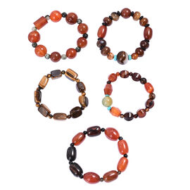 Set of 5 Multi Gemstone Beaded Stretchable Bracelet 7.5 Inch