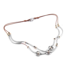 Two in One Necklace (Size - 22) & Multi Strand Bracelet with Lobster Clasp in Silver and Gold Plated