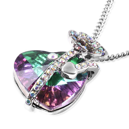 Simulated Green Mystic Topaz and White AB Austrian Crystal Heart and Rose Necklace (Size 20 with 2 inch Extender) in Silver Tone