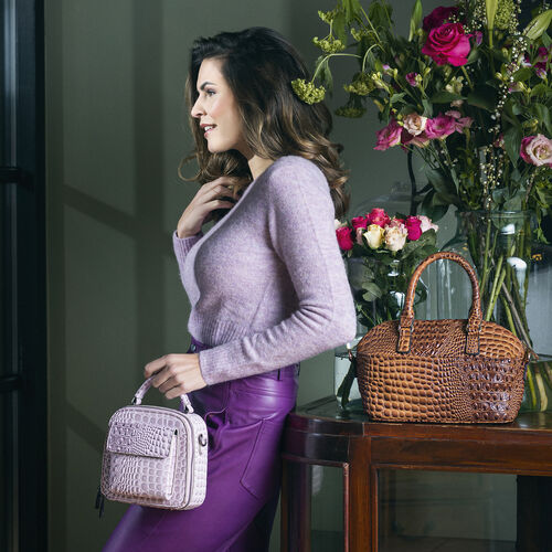 Bulaggi Collection Bells Croc Pattern Crossbody Bag with Flap Pocket in Font in Lilac