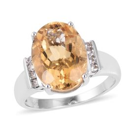 Brazilian Citrine (Ovl 8.75 Ct), Natural White Cambodian Zircon Ring (Size W) in Rhodium Overlay Sterling Sil