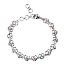 J Francis AB Crystal from Swarovski Heart Bracelet in Platinum Plated 6.5 with 1 inch Extender