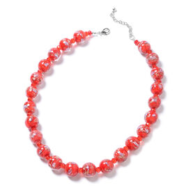 Red Murano Style Glass (Rnd) Beads Necklace (Size 22) in Silver Tone