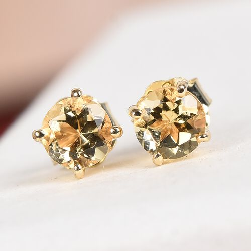 9K Yellow Gold AA Marialite Stud Earrings (with Push Back) 0.50 Ct.