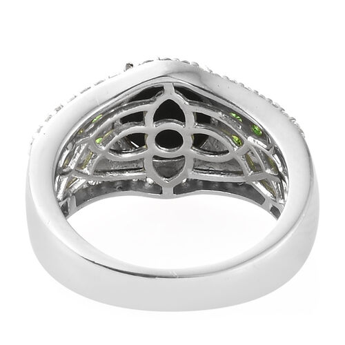 AA Canadian Ammolite (Rnd 8.00 mm), Russian Diopside and Natural White Cambodian Zircon Ring in Platinum Overlay Sterling Silver.