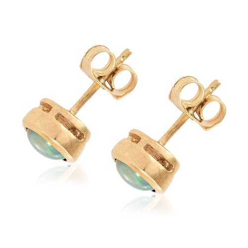 Ethiopian Welo Opal (Rnd), Solitaire Studs Earrings (with Push Back) in 14K Gold Overlay Sterling Silver 1.250 Ct.