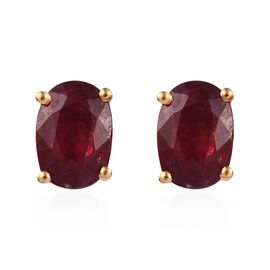AAA African Ruby (Ovl) Stud Earrings (with Push Back) in 14K Gold Overlay Sterling Silver 2.250 Ct.