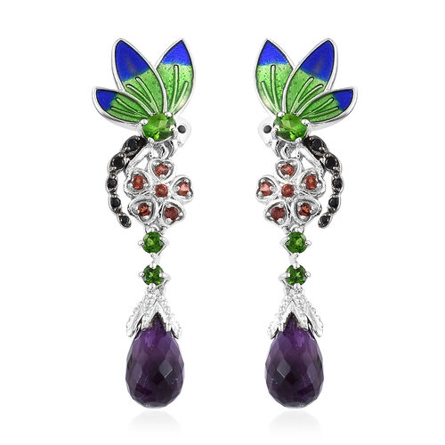 GP Amethyst, Russian Diopside, Mozambique Garnet and Multi Gemstone Enameled Earrings (with Push Bac