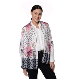 LA MAREY 100% Mulberry Silk Pink Roses and Grey Leopard Print Scarf (165x50cm)