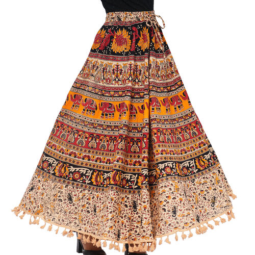 100% Cotton Mandala Print Boho Long Skirt with Tassels (Size 101.5x94cm) - White and Wine Red
