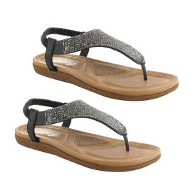 OLLY Samba Toe Post Comfort Sandal in Black Colour