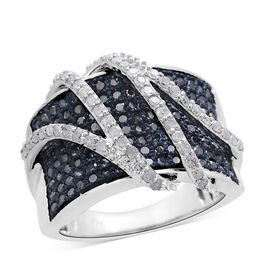Designer Inspired Blue Diamond (Rnd), White Diamond Ring in Platinum Overlay Sterling Silver 1.500 Ct. Silver wt 6.88 Gms. Number of Diamond 178