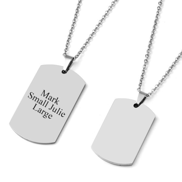 Personalised Engravable His and Her Dog tags in Stainless Steel