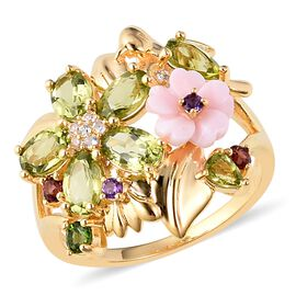 Jardin Collection - Hebei Peridot (Ovl and Pear), Pink Mother of Pearl, Russian Diopside, Amethyst,
