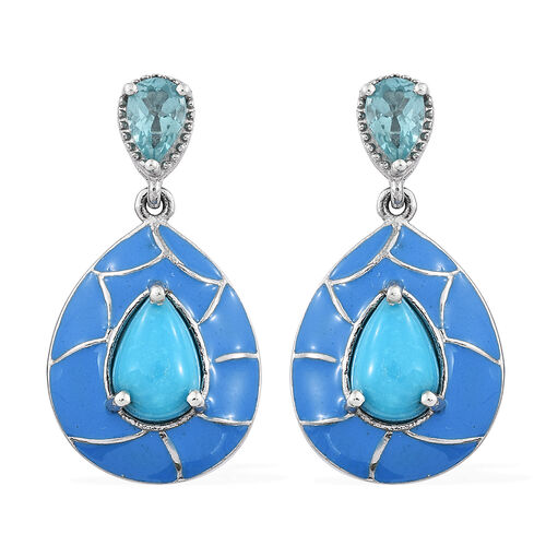Arizona Sleeping Beauty Turquoise (Pear), Paraiba Apatite Enameled Drop Earrings (with Push Back) in Platinum Overlay Sterling Silver 3.000 Ct.