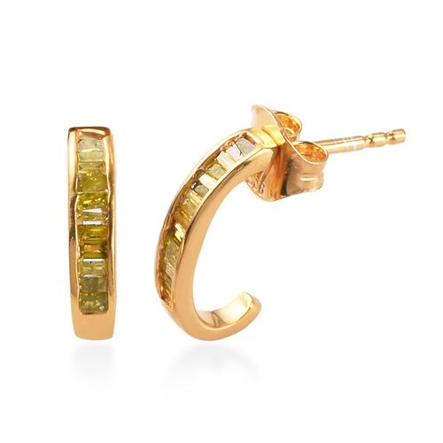 Value Buy- Yellow Diamond J Hoop Earrings (with Push Back) in 14K Gold Overlay Sterling Silver 0.25