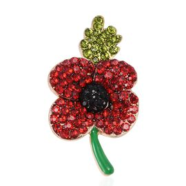 TJC Poppy Design - Red and Green Austrian Crystal Flower with Leaf Brooch in Gold Tone