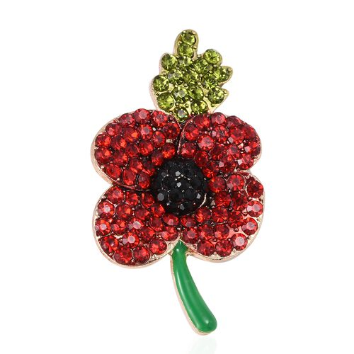 Red and Green Austrian Crystal Flower with Leaf Brooch in Gold Tone